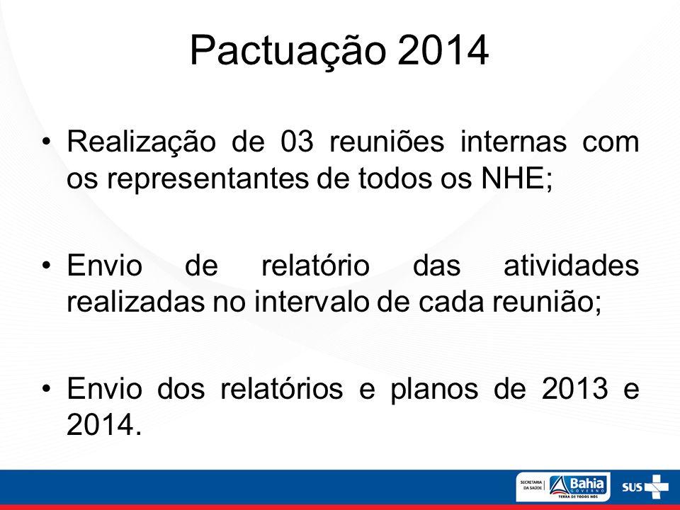 Pactuação 2014 Realização de 03 reuniões internas com os representantes de todos os NHE;