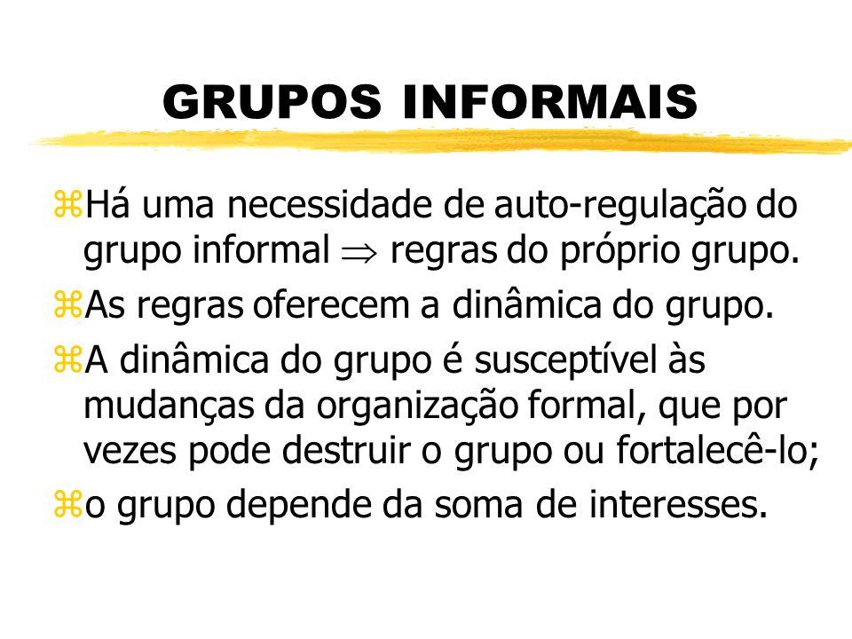GRUPOS INFORMAIS Há uma necessidade de auto-regulação do grupo informal  regras do próprio grupo. As regras oferecem a dinâmica do grupo.