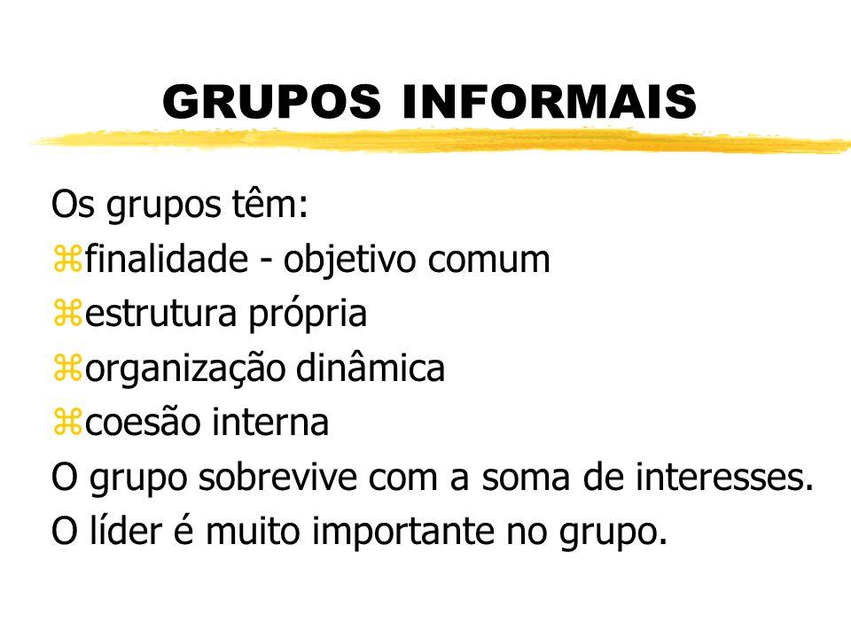 GRUPOS INFORMAIS Os grupos têm: finalidade - objetivo comum