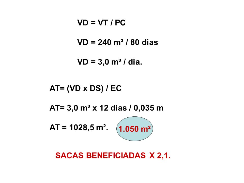VD = VT / PC VD = 240 m³ / 80 dias. VD = 3,0 m³ / dia. AT= (VD x DS) / EC. AT= 3,0 m³ x 12 dias / 0,035 m.