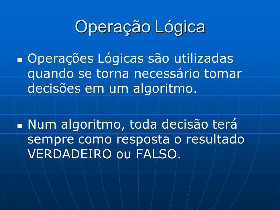 Operação Lógica Operações Lógicas são utilizadas quando se torna necessário tomar decisões em um algoritmo.