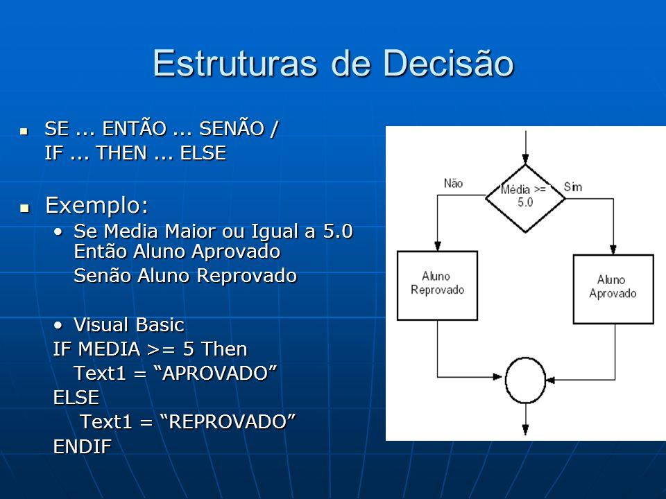 Estruturas de Decisão Exemplo: SE ... ENTÃO ... SENÃO /