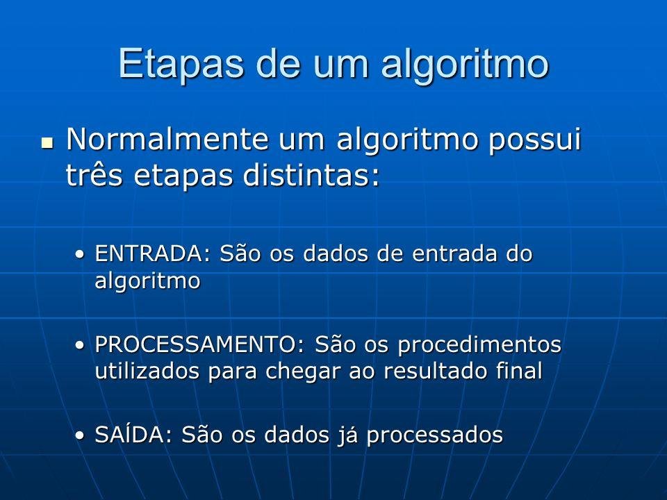 Etapas de um algoritmo Normalmente um algoritmo possui três etapas distintas: ENTRADA: São os dados de entrada do algoritmo.
