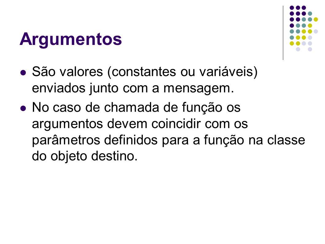 ArgumentosSão valores (constantes ou variáveis) enviados junto com a mensagem.
