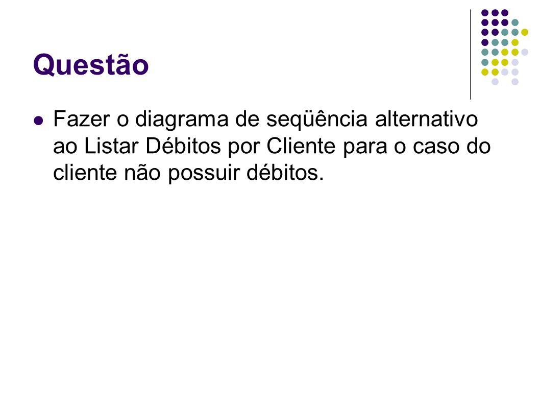 QuestãoFazer o diagrama de seqüência alternativo ao Listar Débitos por Cliente para o caso do cliente não possuir débitos.