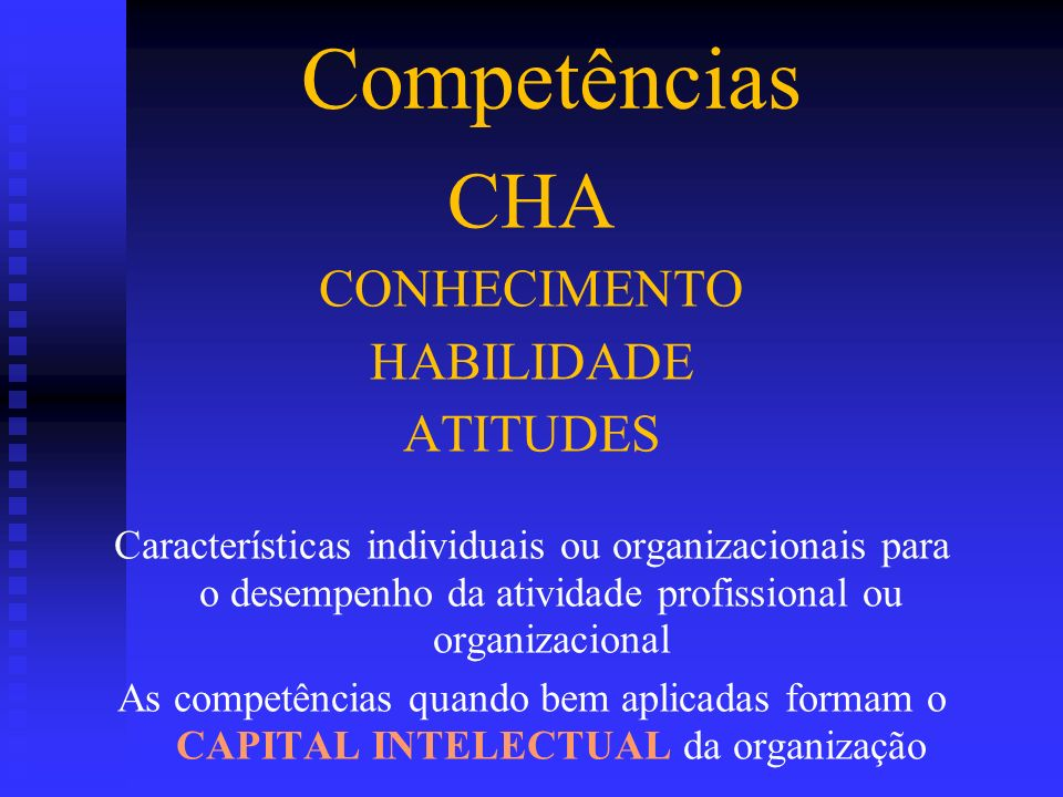 Competências CHA CONHECIMENTO HABILIDADE ATITUDES