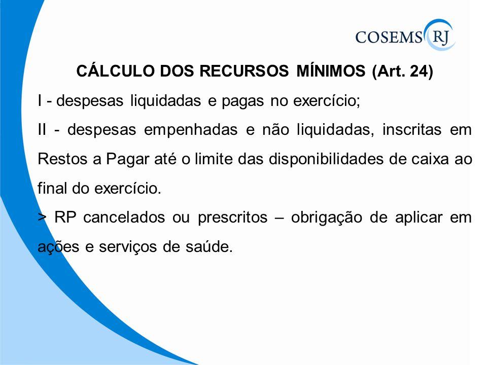 CÁLCULO DOS RECURSOS MÍNIMOS (Art. 24)