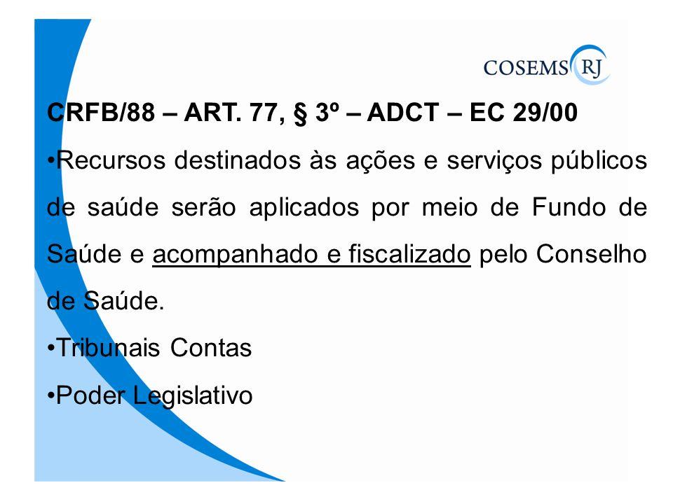CRFB/88 – ART. 77, § 3º – ADCT – EC 29/00