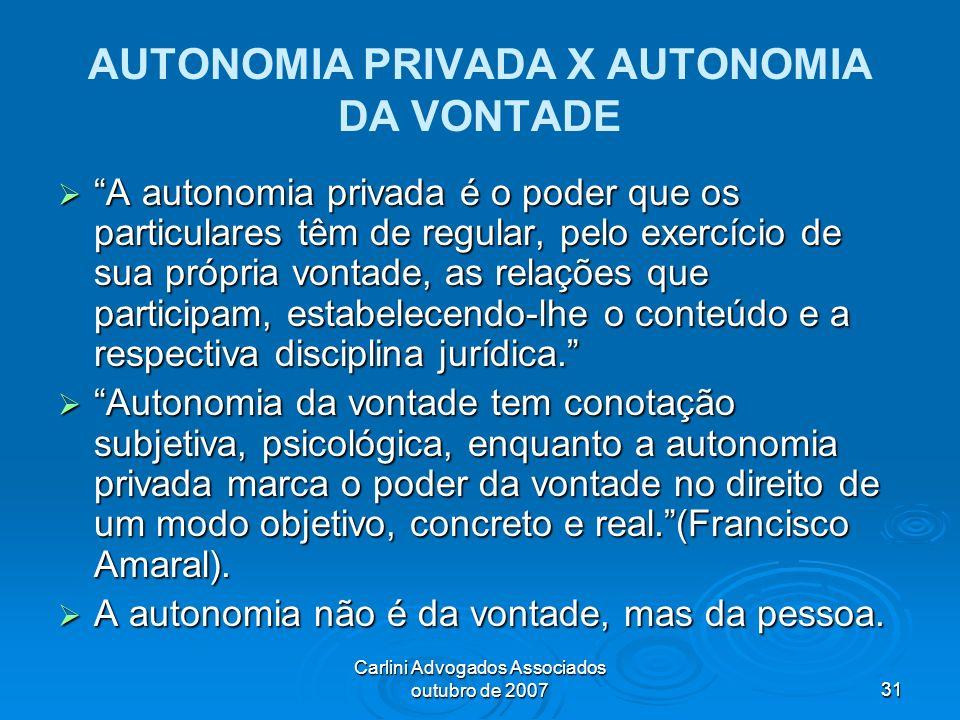 AUTONOMIA PRIVADA X AUTONOMIA DA VONTADE
