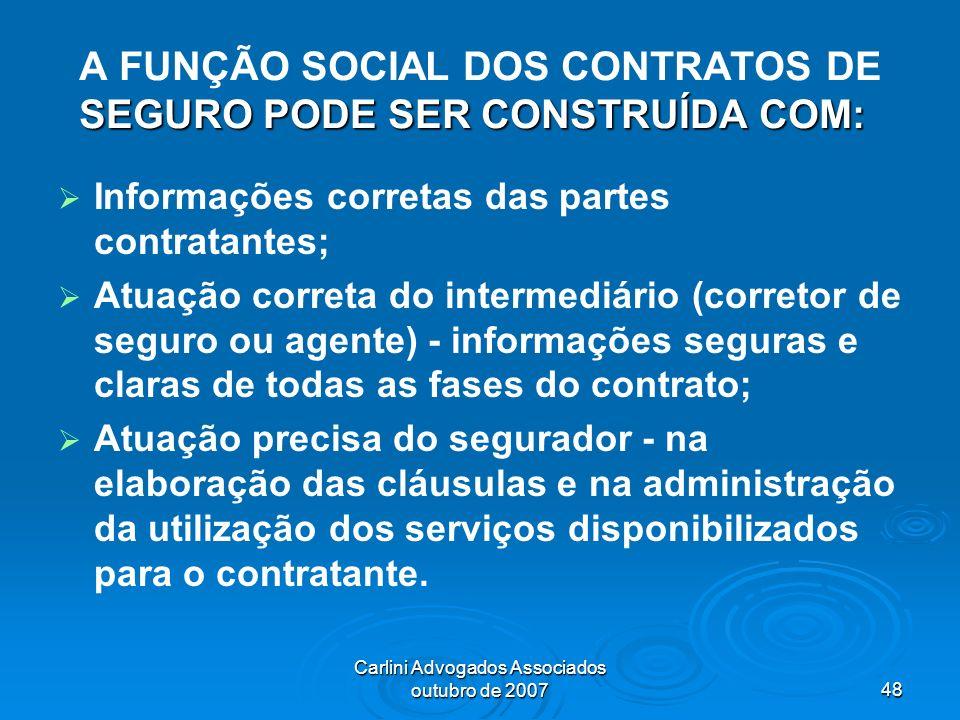 A FUNÇÃO SOCIAL DOS CONTRATOS DE SEGURO PODE SER CONSTRUÍDA COM: