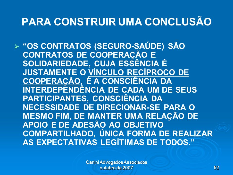 PARA CONSTRUIR UMA CONCLUSÃO