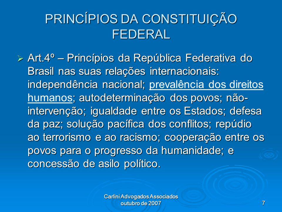 PRINCÍPIOS DA CONSTITUIÇÃO FEDERAL