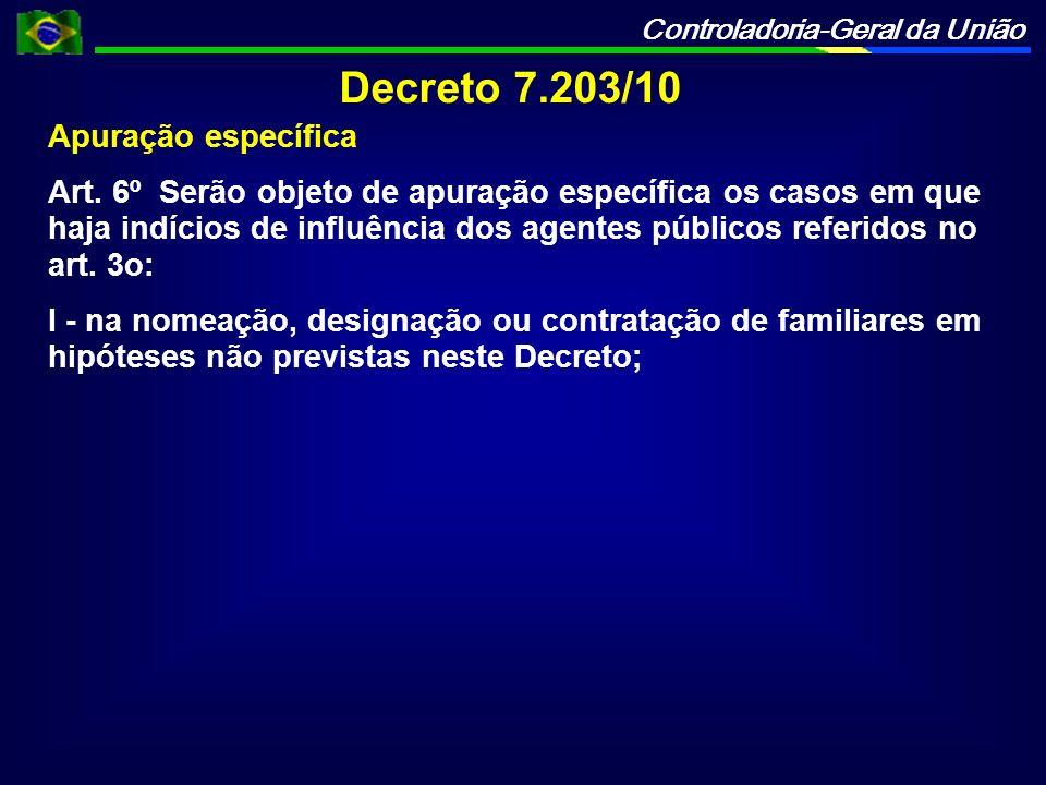Decreto 7.203/10 Apuração específica