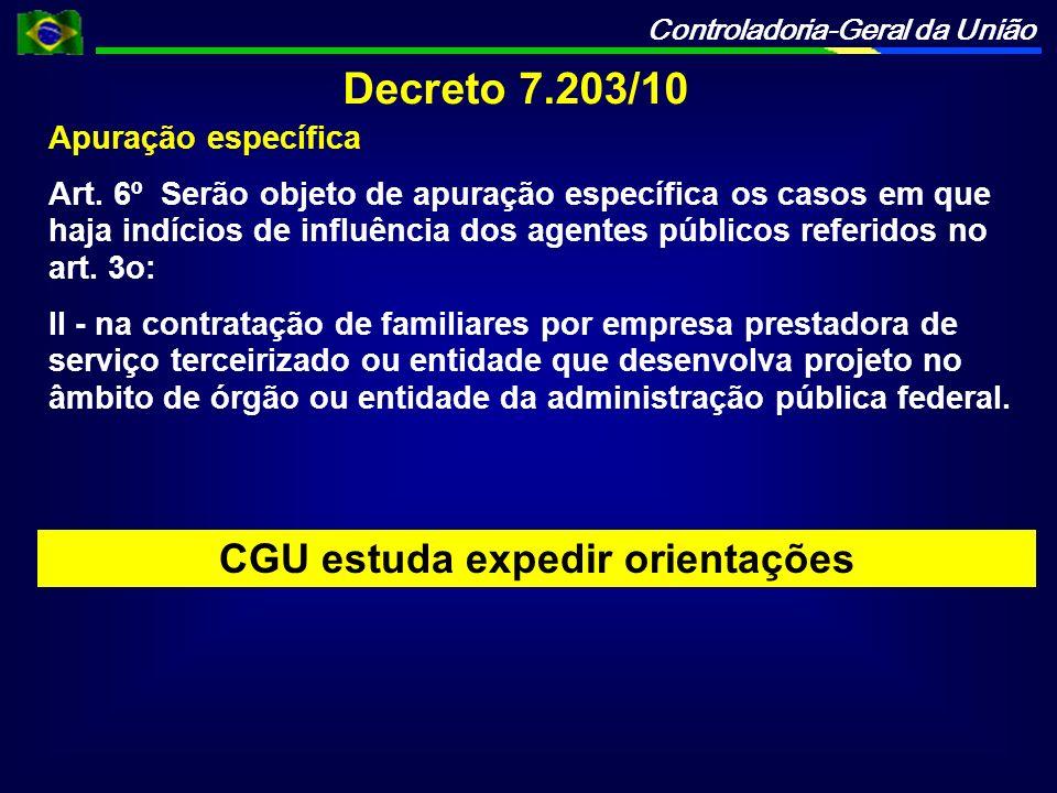 CGU estuda expedir orientações