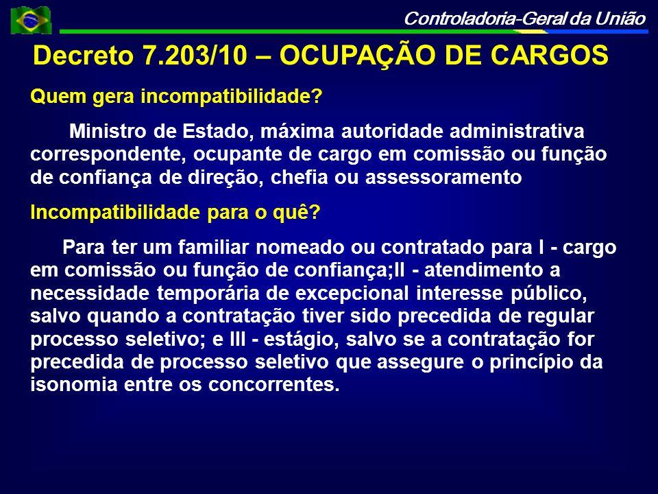 Decreto 7.203/10 – OCUPAÇÃO DE CARGOS