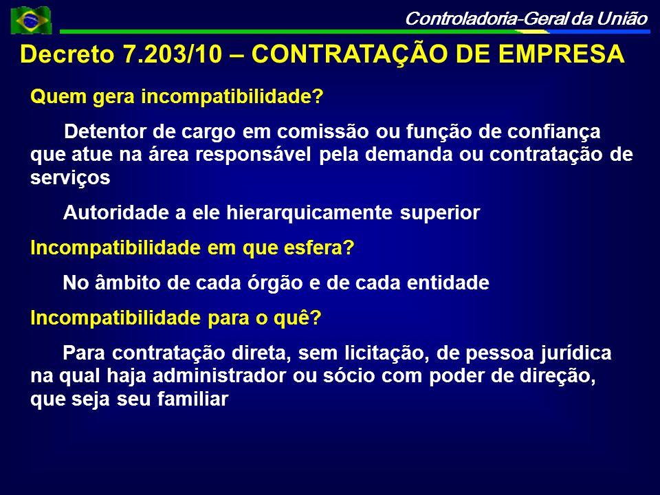 Decreto 7.203/10 – CONTRATAÇÃO DE EMPRESA