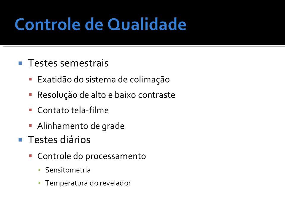 Controle de Qualidade Testes semestrais Testes diários