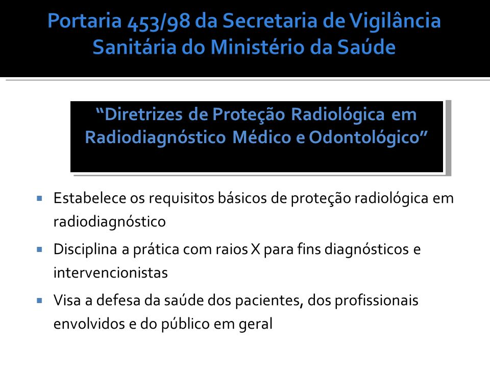 Diretrizes de Proteção Radiológica em Radiodiagnóstico Médico e Odontológico