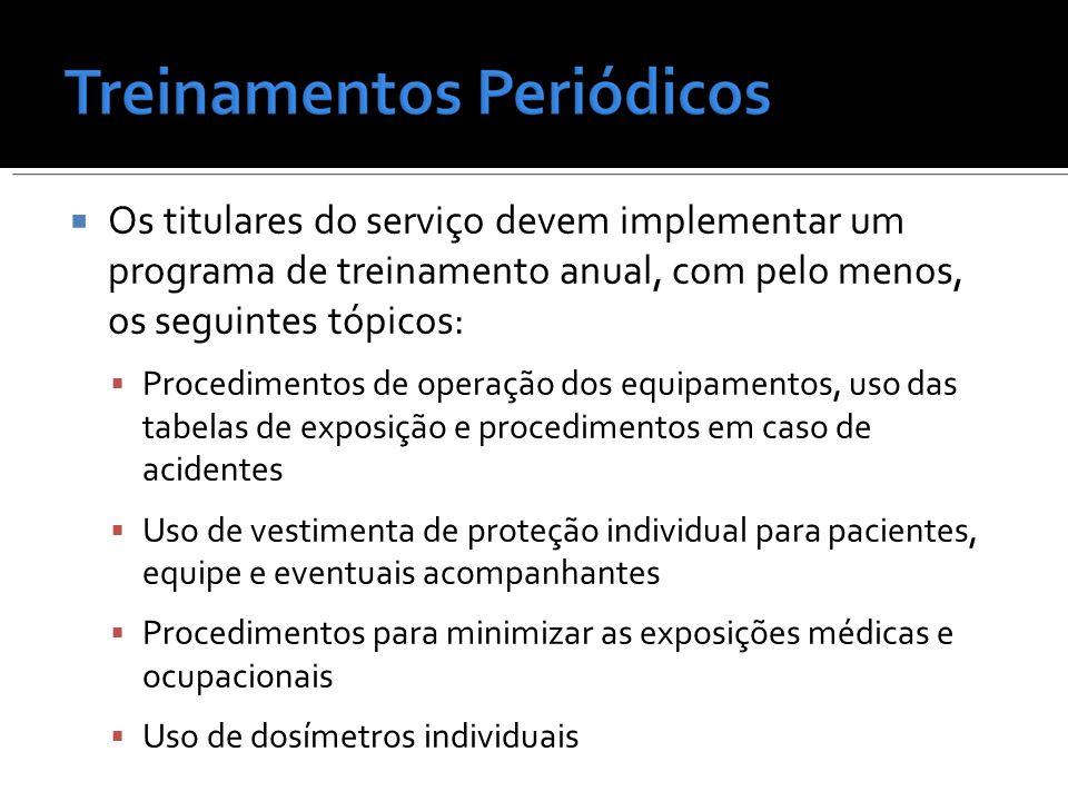 Os titulares do serviço devem implementar um programa de treinamento anual, com pelo menos, os seguintes tópicos: