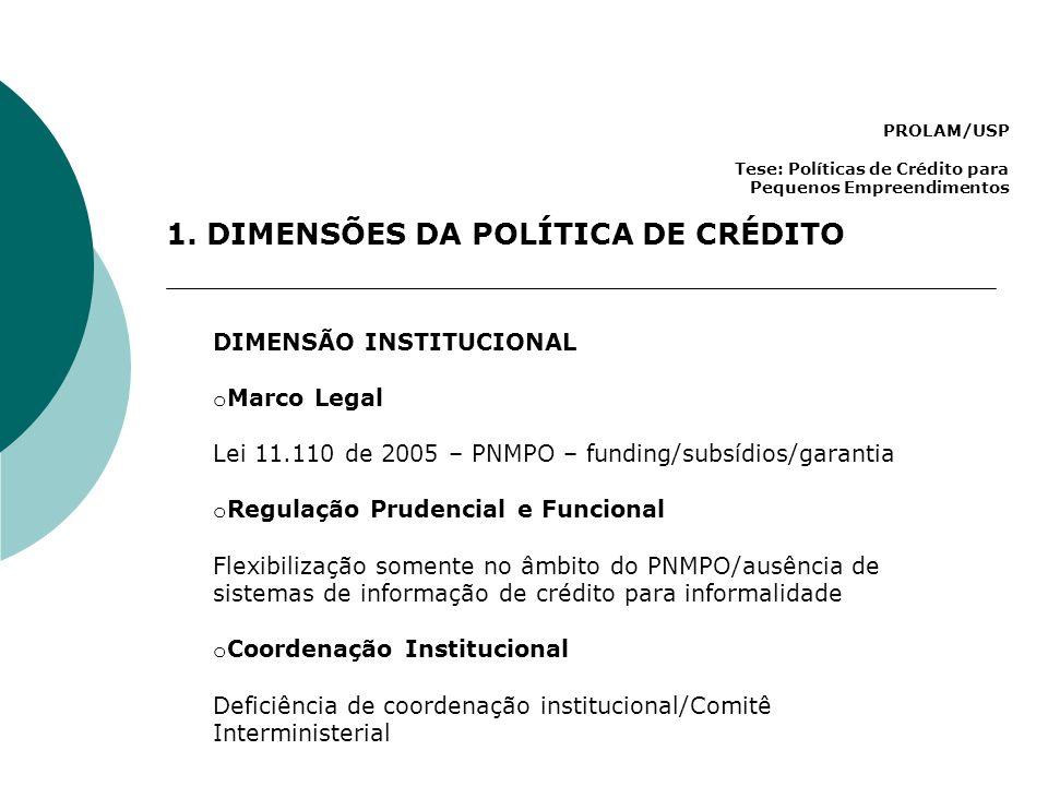 1. DIMENSÕES DA POLÍTICA DE CRÉDITO