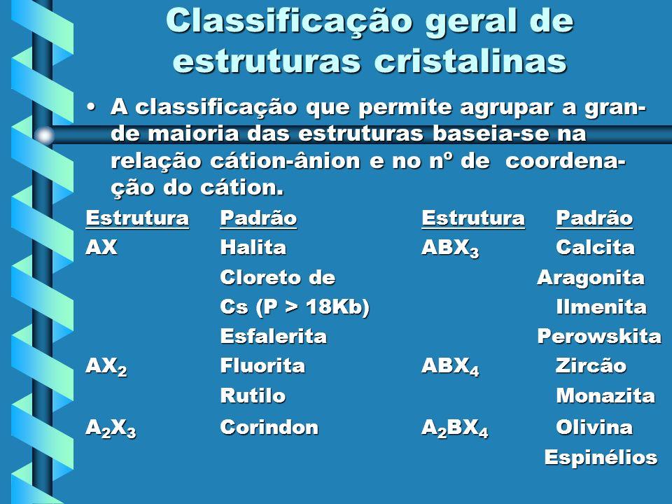 Classificação geral de estruturas cristalinas