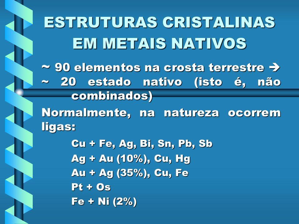 ESTRUTURAS CRISTALINAS EM METAIS NATIVOS