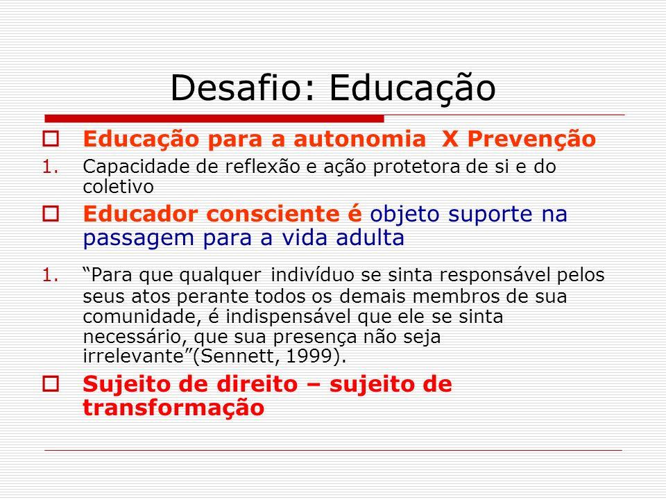 Desafio: Educação Educação para a autonomia X Prevenção