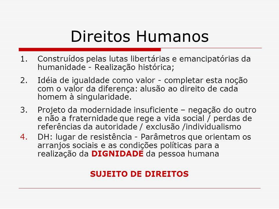 Direitos Humanos Construídos pelas lutas libertárias e emancipatórias da humanidade - Realização histórica;