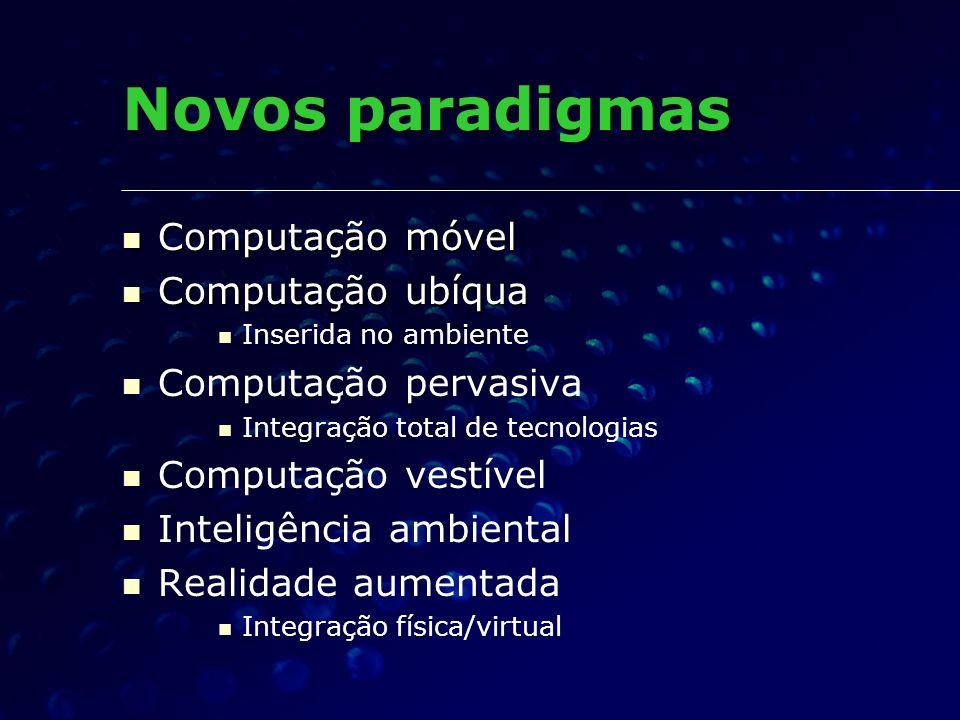 Novos paradigmas Computação móvel Computação ubíqua