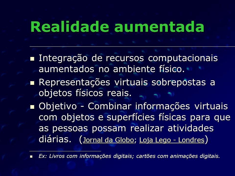 Realidade aumentada Integração de recursos computacionais aumentados no ambiente físico.