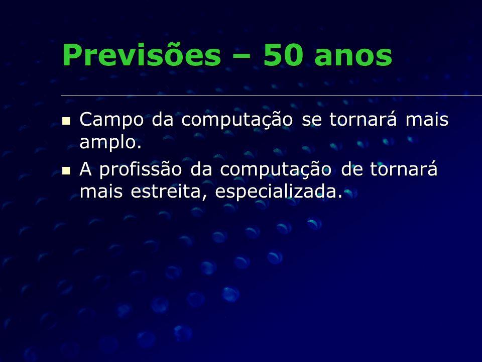 Previsões – 50 anos Campo da computação se tornará mais amplo.