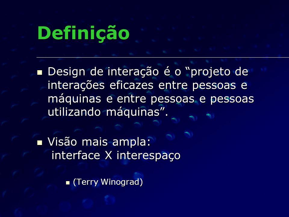 DefiniçãoDesign de interação é o projeto de interações eficazes entre pessoas e máquinas e entre pessoas e pessoas utilizando máquinas .