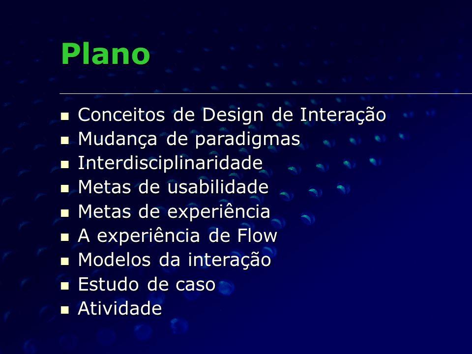 Plano Conceitos de Design de Interação Mudança de paradigmas