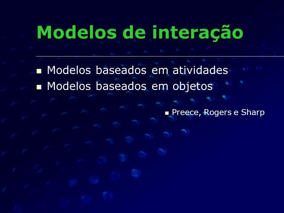 Modelos de interação Modelos baseados em atividades