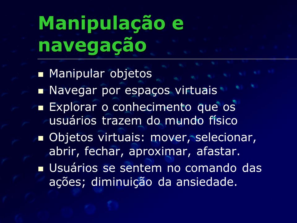 Manipulação e navegação