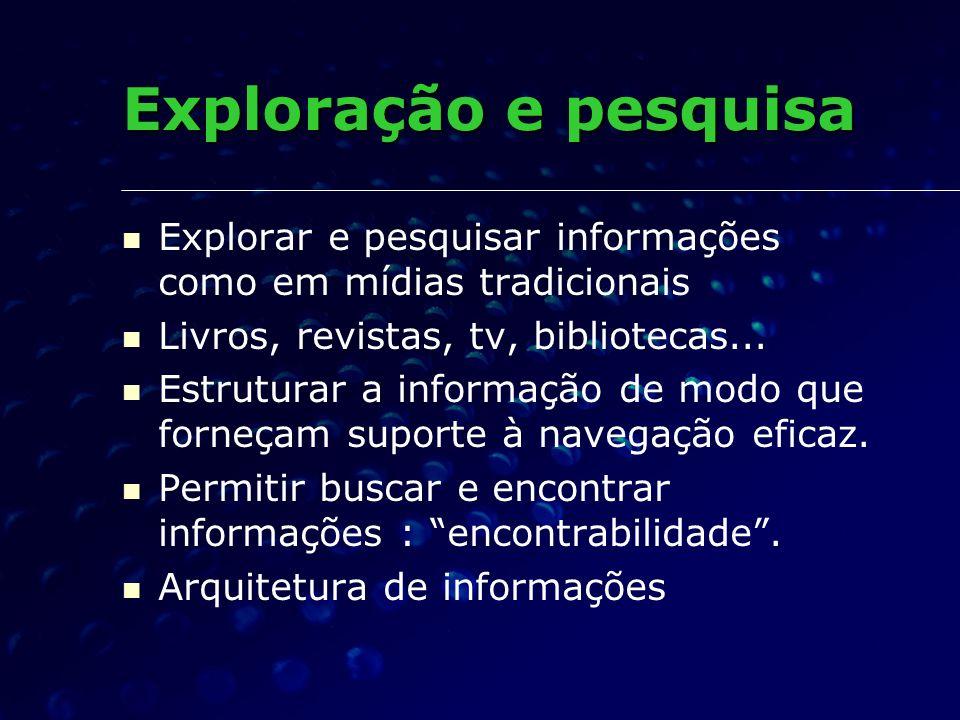 Exploração e pesquisa Explorar e pesquisar informações como em mídias tradicionais. Livros, revistas, tv, bibliotecas...