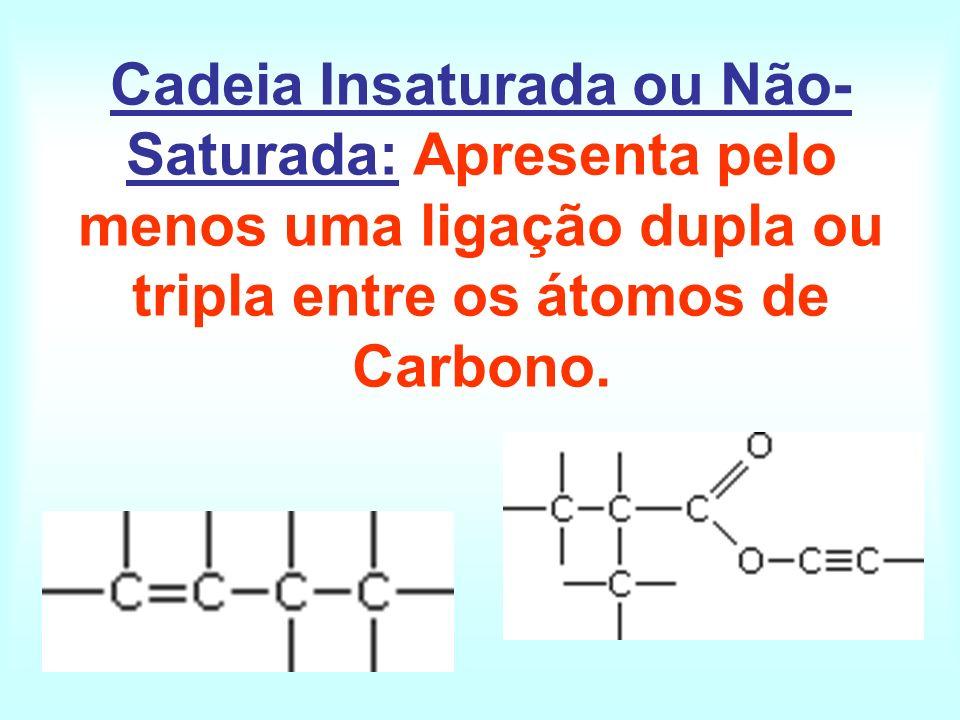 Cadeia Insaturada ou Não-Saturada: Apresenta pelo menos uma ligação dupla ou tripla entre os átomos de Carbono.