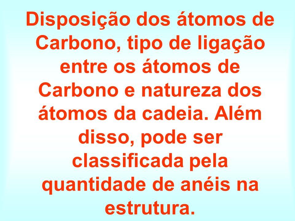 Disposição dos átomos de Carbono, tipo de ligação entre os átomos de Carbono e natureza dos átomos da cadeia.