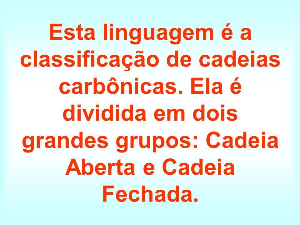 Esta linguagem é a classificação de cadeias carbônicas