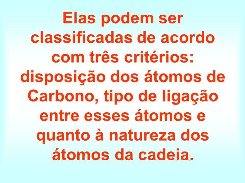 Elas podem ser classificadas de acordo com três critérios: disposição dos átomos de Carbono, tipo de ligação entre esses átomos e quanto à natureza dos átomos da cadeia.