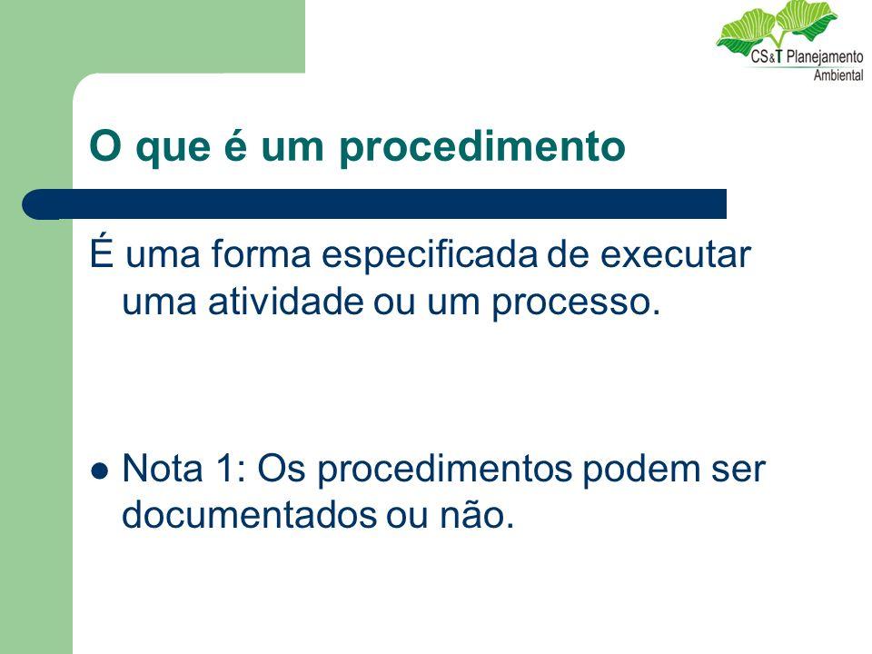 O que é um procedimento É uma forma especificada de executar uma atividade ou um processo.