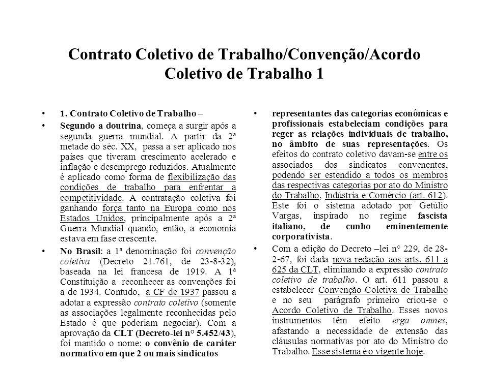 Contrato Coletivo de Trabalho/Convenção/Acordo Coletivo de Trabalho 1