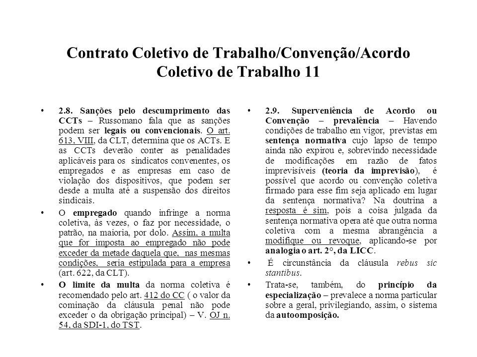 Contrato Coletivo de Trabalho/Convenção/Acordo Coletivo de Trabalho 11