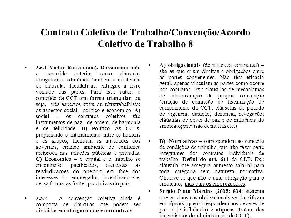 Contrato Coletivo de Trabalho/Convenção/Acordo Coletivo de Trabalho 8