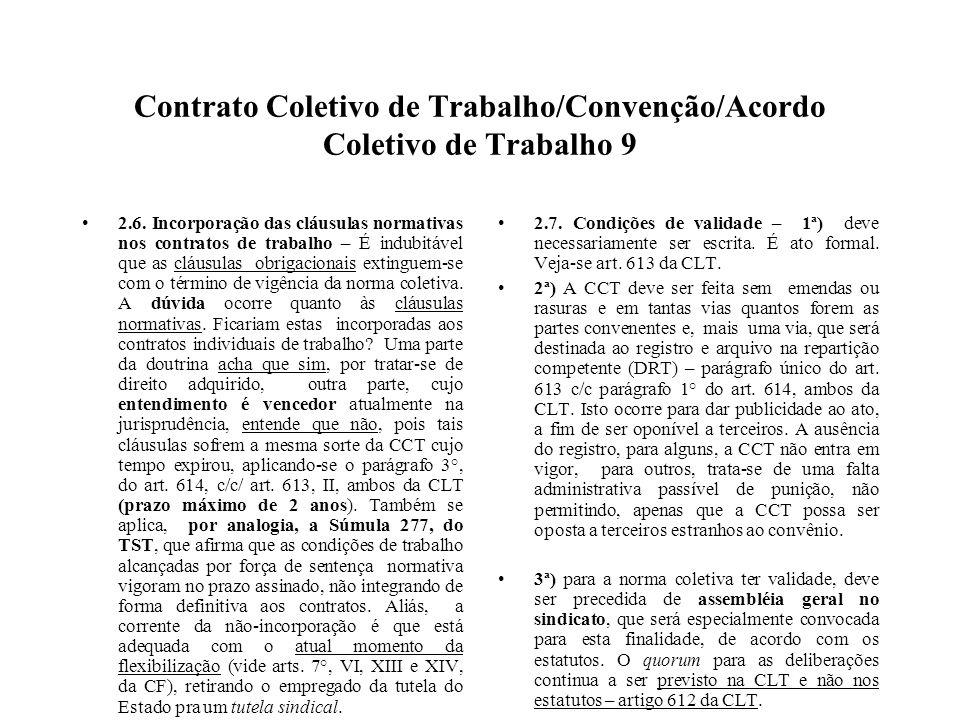 Contrato Coletivo de Trabalho/Convenção/Acordo Coletivo de Trabalho 9