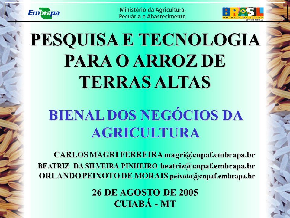 PESQUISA E TECNOLOGIA PARA O ARROZ DE TERRAS ALTAS