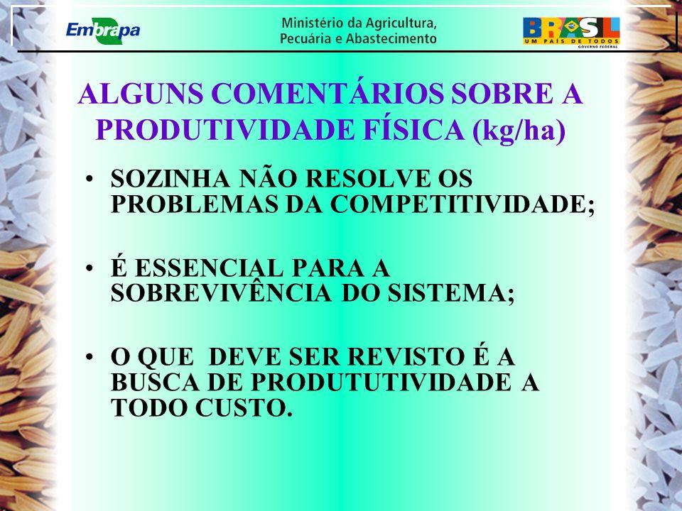 ALGUNS COMENTÁRIOS SOBRE A PRODUTIVIDADE FÍSICA (kg/ha)