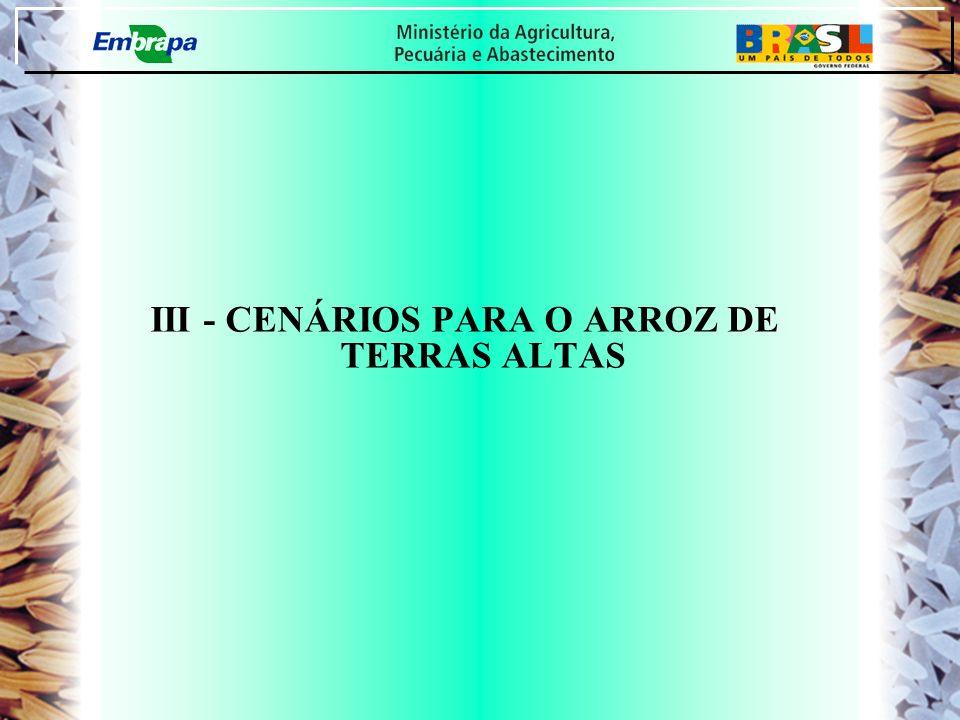 III - CENÁRIOS PARA O ARROZ DE TERRAS ALTAS
