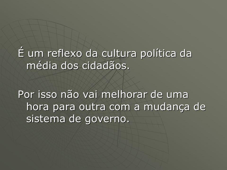É um reflexo da cultura política da média dos cidadãos.
