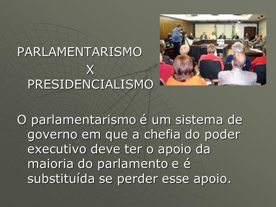 PARLAMENTARISMO X PRESIDENCIALISMO.